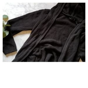 Black Sweater Duster Pockets Hoodie Size M Long